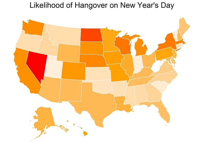 These States are Most Likely to Have a Hangover on New Year's Day